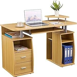 piranha gro er computer schreibtisch mit 2 schubladen und 4 regalf chern pc 5o k che. Black Bedroom Furniture Sets. Home Design Ideas