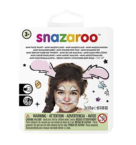 Snazaroo 1172082 Kinderschminke Mini Set Hase, 3 Schminkfarben, Farben: Weiß, Schwarz, Pink, 1 Pinsel, 1 Schwämmchen (Schminken Halloween Hase)