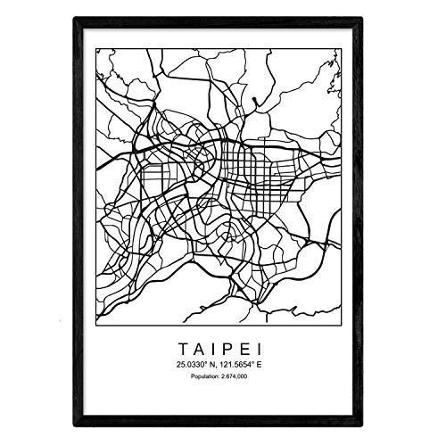Formato A3 Nacnic Stampa da incorniciare Mappa in Bianco e Nero