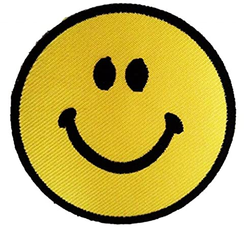 Smiley Face Happy Positive Thinking Hippie Patch 7.5 x 7.5 cm - Embroidered Iron on Patches