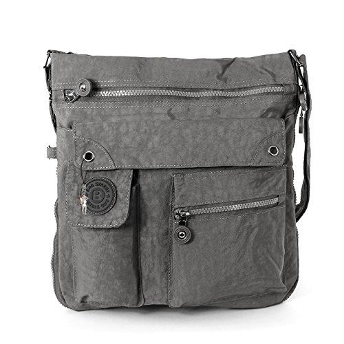 Bag Street Umhängetasche Bodybag grau (Sportliche Nylon Handtasche)