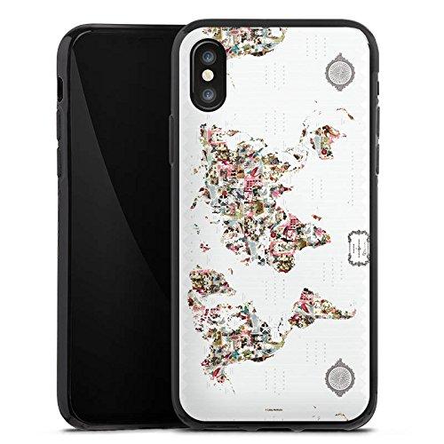 Apple iPhone X Silikon Hülle Case Schutzhülle Bunte Welt Muster Blumen Tiere Silikon Case schwarz
