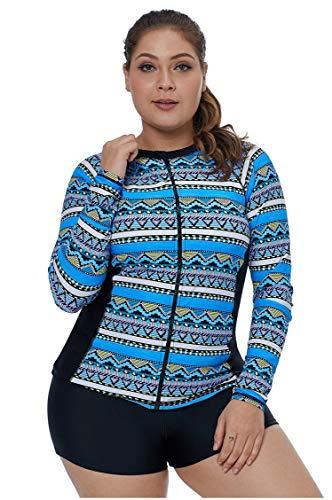 Bademode Plus Size Long Sleeves Neoprenanzug Frontzipper Druckmuster UV-Schutz Sport Tauch Skin Suit-Two Pieces für Frauen & Jugendliche Bikinis (Farbe : Blue Patterns, Größe : XL)