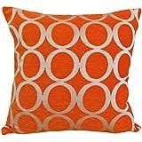 "Orange & Cream 18"" Luxury Soft Chenille Cushion Cover"