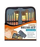 Exerz JH023 Künstler Pinsel Set – 10 Stück Professionelle Gemischte Borstenpinsel in Einer Reisehülle/Perfekt für Wasserfarben Acryl Gouache