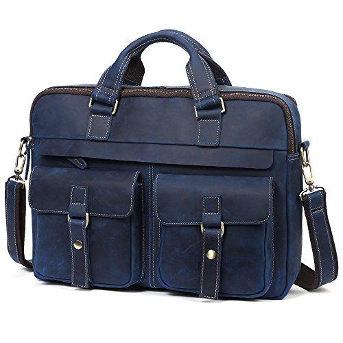 Vintage Herren Laptoptasche Arbeitstasche Schultertasche Kunstleder Herrentasche blue color