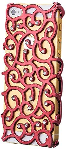 iCues Apple iPhone SE / 5S / 5 |  Blumen Strass Case Schwarz | [Display Schutzfolie Inklusive] Strass Glitzer Glitter Luxus Bling Damen Frauen Mädchen Chrome Schutzhülle Hülle Cover Schutz Rot
