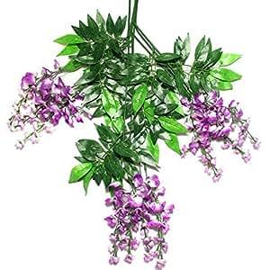 Kurtzy OurWarm Glycine Artificielle Fausse Plante jardin suspendu Décoration de mariage à fleurs de vigne/Violet Taille S