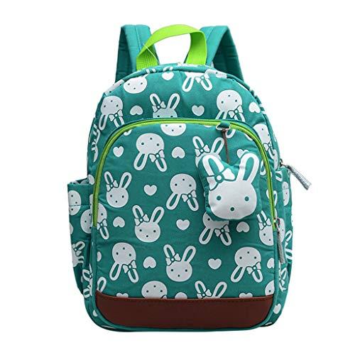 Haven shop Kinder-Rucksack mit Hasen-Tier-Motiv, niedlicher Kleinkind-Rucksack, mit Leine, für Jungen und Mädchen grün (Niedlich Kleinkind, Home|,)