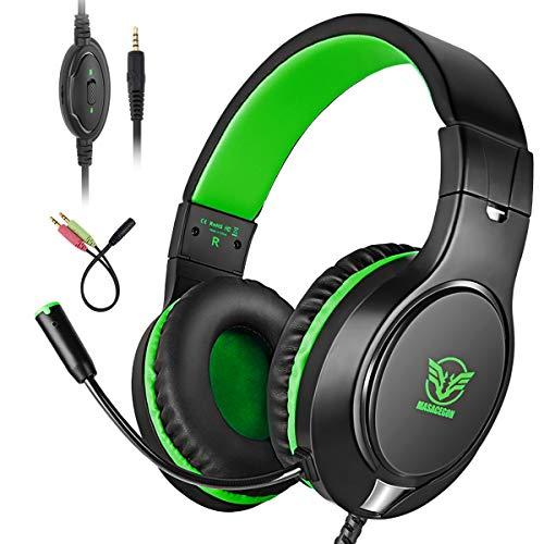 Bovon Gaming Headset für PS4, Bass Surround-Kopfhörer Over Ear Noise Cancelling, 3.5mm PC Game Headset mit Mikrofon für Xbox One, PC, Mac, Laptop, Smartphones, Tablet, Nintendo Switch Spiele (Grün) (Grün Spiele)