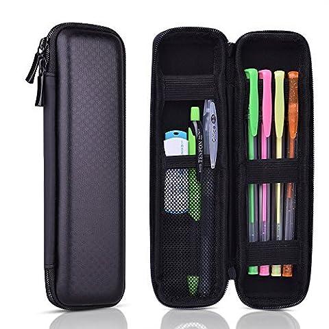 Kuuqa Black Hard Pencil Case EVA Hard Shell Pen Case Holder for Executive Fountain Pen and Stylus Touch Pen