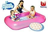 Planschbecken BESTWAY rechteckig pink oder blau 165 x 104 cm Kinder