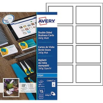 Avery 200 Cartes De Visite Bords Lisses 260g