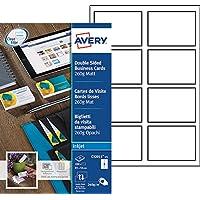 Avery 200 Cartes de Visite à Bords Lisses 260g - 85x54mm - Impression Jet d'Encre - Mat - Blanc (C32015)