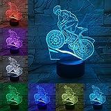 Lampada da notte 3D Lampada da bicicletta a LED 3D 7 colori Atmosfera Illuminazione Colori Sensore di bulbo Luce notturna Ragazzi Amante Regali Camera da letto Scrivania Decor-A_Touch_7_Colors_Set