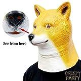 CreepyParty Halloween Kostüm Party Tierkopf Latex Masken Shiba Hund