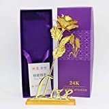 #8: Kids Mandi™ 24K Golden Rose 10 Inches With Purple Gift Box - Best Gift with Stand