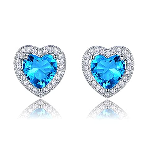 GULICX Valentines Day Heart Stud Earrings Light Blue Cubic Zircon Aquamarine Color Silver Tone