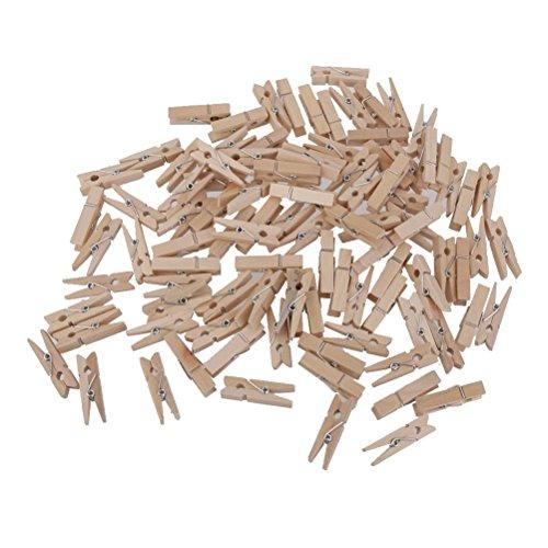 ROSENICE Mini Holzklammern Deko Klammern Wäscheklammern Fotopapier Peg 3.5 cm - 100 Stücke (Handwerk Papier-puppe)