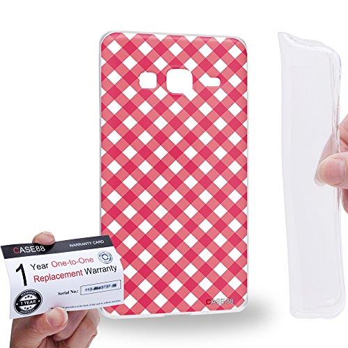 Case88 [Samsung Z3 Sm-Z300h] Gel TPU Hülle / Schutzhülle & Garantiekarte - Art Coloured Doodle Patterns Pink Checker Art1406 Checker Tpu Gel