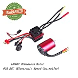 Crazepony-UK 3650 4300KV Brushless Motor Waterproof Sensorless 5mm Bearing with 60A ESC Electronic Speed Controller Combo Set Splashproof for 1/10 RC Car Truck Vehicle by