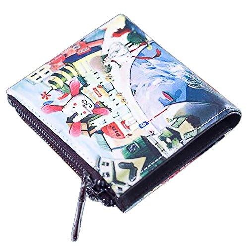 Cozywind Borsa frizione breve portafoglio Donna Corto Della Moneta Pelle Cerniera Vintage Graffiti Sottile (Short-Fox) Short-Country