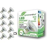 10x greenandco® CRI 90+ dimbare LED-spot vervangt 50W GU10 5W 410lm 3000K warm wit 110° 230V, flikkervrij