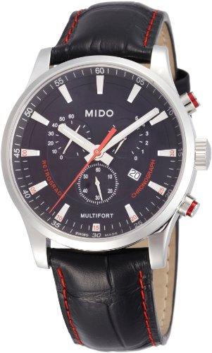 Mido Homme 42mm Bracelet Cuir Noir Saphire Quartz Montre M0054171605120