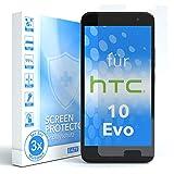 EAZY CASE 3X Panzerglas Displayschutz 9H Härte für HTC 10 Evo, nur 0,3 mm dick I Schutzglas aus gehärteter 2,5D Panzerglasfolie, Displayschutzglas, Transparent/Kristallklar