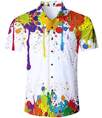 TUONROAD Freizeithemden Herren Funny Tie Dye Malen 3D Gedruckt Muster Bunte Funky Shirt Hemd Herren Kurzarm Sommerhemd Button Down Hawaiihemd Strandhemd Hawaii Hemd Weiß Männer Jungen XL - Herren-xl Tie Dye
