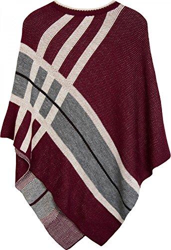 styleBREAKER poncho in maglia ifine con riche in contrasto cromatico, girocollo, rigato, look oversized, donna 08010041 Bordò-Rosso