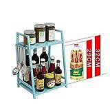 TIDLT Countertop Organizer Rack Besteckhalter Gewürzglas Flasche Speicherorganisator Küchenutensilien-Halter (Farbe : 2 layer-Blue-35 * 24 * 43cm) - 3