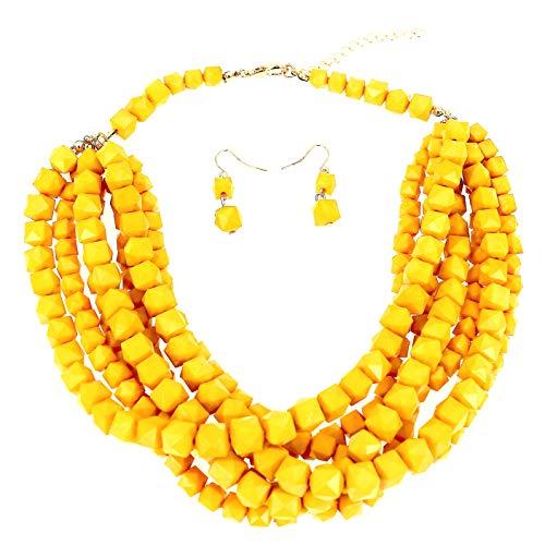 Neu Mode Schmuck Prime Gelb Perlen Strand Halsband Klobig Halskette und Ohrringe einstellen