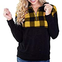 Damen Umlegekragen Pullovershirt Kariert Patchwork Mode Pulli Sweatshirt Outwear Herbst Locker Tuniken T-Shirt Oberteile Frauren Sport Casual Langarmshirt Bluse