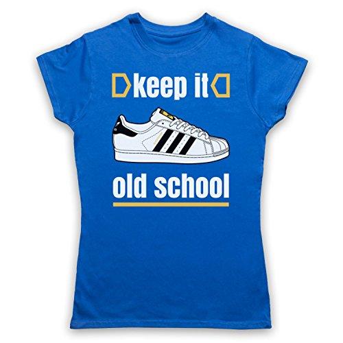 Keep It Old School Retro Superstar Slogan Damen T-Shirt Blau