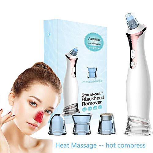 BLH-HTY Mitesser Entferner Vakuumextraktor Elektrische Elektronische Schönheit Porenreiniger Gesicht Wärmemassagegerät Reinigung Nase Mitesser Akne Blaue LED-Lichttherapie Hautpflege Maschine -