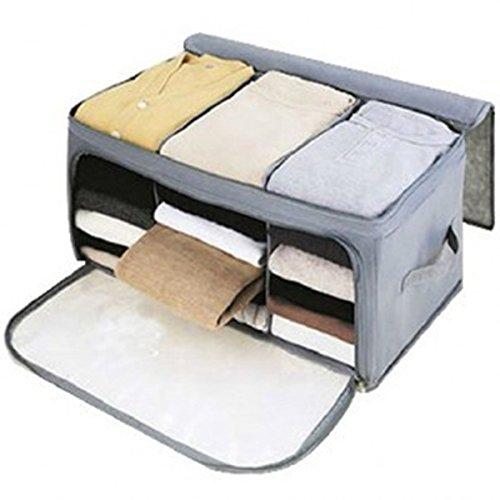 OUNONA Kleidung Aufbewahrungstasche Unterbettkommod faltbar Organisator für Kleidung Bettdecke(grau)