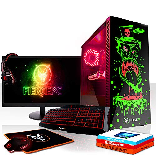 Fierce Reaper RGB Gaming PC Bundeln - Schnell 3.6GHz Quad-Core Intel Core i3 8100, 1TB HDD, 8GB, NVIDIA GeForce GTX 1070 8GB, Windows 10, Tastatur (QWERTZ), Maus, 24-Zoll-Monitor, Headset 1007724