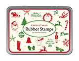 Cavallini Papers Rubber Stamps Set Christmas Mini, 20 Assorted Wooden Rubber Stamps Packaged in a Tin