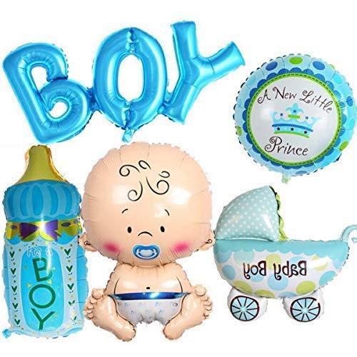 Trimming Shop Folienballon für Baby-Party, 35,6 cm, Blau, für Neugeborene, Jungen, Mädchen, mit aufblasbarem Strohhalm für Baby-Taufe, Tauf-Party, Dekoration, Feier, 35,6 cm Baby Shower- Boy