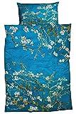 Goebel Artis Orbis Satin-Bettwäsche Mandelbaum Vincent Van Gogh 135x200 cm blau