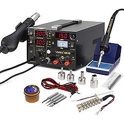 YIHUA 853d 3-en-1 estación de soldador y pistola de aire caliente y Fuente de alimentación alta precisión Intelligence Temperatura Control SMD Rework Outillage Group