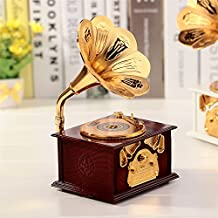A menudo Vintage/Retro plástico Gramófono Embudo Gramófono Music Box/–Caja de música con cajón