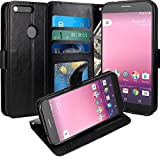 Google Pixel XL Hülle, LK Luxus PU Leder Brieftasche Flip Case Cover Schütz Hülle Abdeckung Ledertasche für Google Pixel XL (Schwarz)