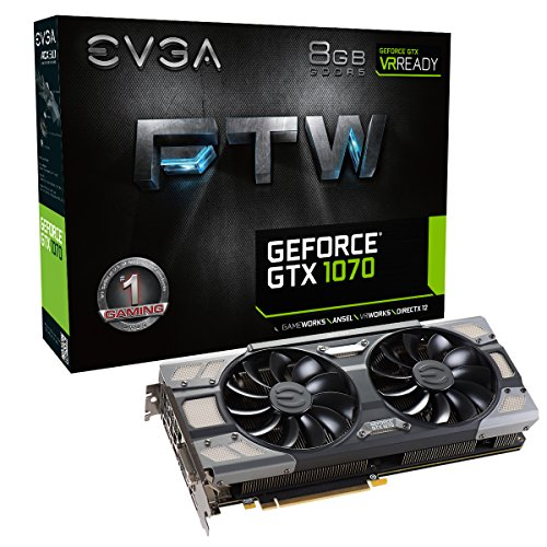 EVGA GeForce GTX 1070 FTW Gaming ACX 3.0, 8GB GDDR5, RGB LED, 10CM FAN, 10 Power Phases, Double BIOS, DX12 OSD Support (PXOC) Grafikkarte 08G-P4-6276-KR (Gtx Black Titan)