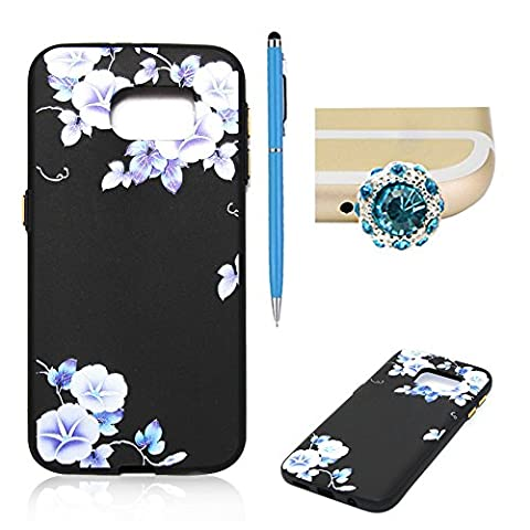 SKYXD Samsung Galaxy S7 Silicone Case,Vintage Floral Flower Collection Soft Gel TPU Skin Protective Bumper Black Background Morning glory Design Cover For Samsung Galaxy S7 + 1 x Touch Screen Stylus + 1 x Dust