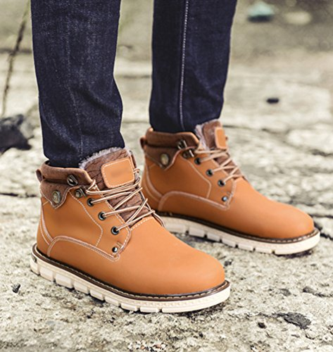 Jitong Herren Schnürstiefel Warm Winterstiefel Arbeitsschuhe Kurzschaft Martin Stiefel Stiefelette Outdoor Boots Gelb (Kunstpelzfutter)