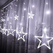 Hrph Cortina de la secuencia 8 modos que destellan 138 de la estrella LED de luz con impermeable para la Navidad de la boda enchufe de la UE
