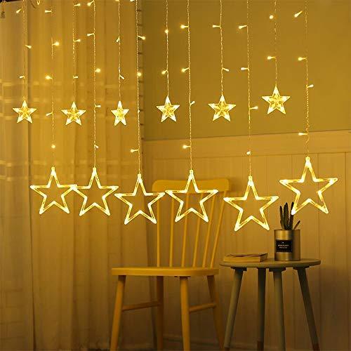 Lichtervorhang Sterne, Lichterkette Sterne mit Led Kugel 12 Sterne,3m Wasserdicht Strangleitungen Innen & Außenlichterkette für weihnachtsdeko, Hochzeit, Party, Fenster, Garten Warmweiß