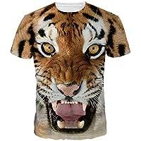 Camiseta de Hombres/Mujeres Cool 3D Imprimir Tiger T-Shirt Funny Animal Casual, Camiseta de Manga Corta, Camiseta Tops